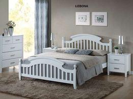łóżko LIZBONA białe drewno 160x200 nowe2019