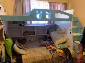 Kids double bunk with side draws