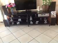 Large black glass and steel Tv and Hifi stand for sale  South Africa