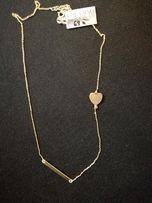 Celebrytka 2-elementowa łańcuszek blaszka +serce. Srebro925+złoto