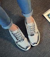 buty adidasy tenisówki 38 srebrne szare błyszczące