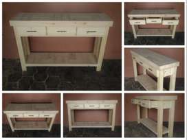 Food Server Farmhouse series 1400 with 3 drawers and 1 shelf - Raw