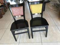 Image of wooden chairs with fabric