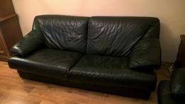 Extra sofa, kanapa 3-osobowa, skóra naturalna, zieleń butelkowa