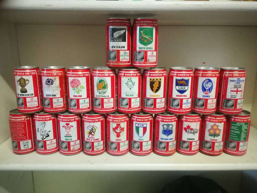 1995 Rugby world cup coke cans