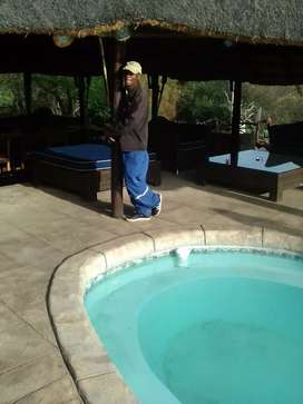 Thatching and swimming and swimming pool