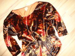 VICTORIAS SECRET aksamitna brązowa w kwiaty bluzka lużna bluza z USA S