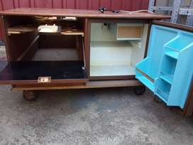 3 - 1 Bar fridge (perfect working condition), cupboard and TV stand