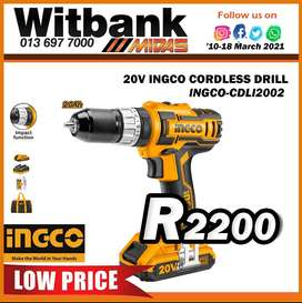 20V INGCO Cordless Drill ONLY R2200 at Midas Witbank!
