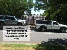 Bakkie and trailer to rent