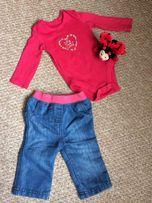 Джинсы и бодик для модной малышки 3-6 месяцев