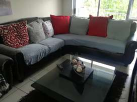 Leather corner with lazyboy stand-alone couch