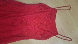 Suknia wieczorowa czerwona koraliki
