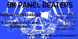 Bk panel beating and spray painting