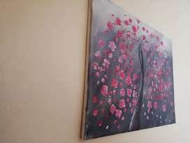 Beautiful handpainted cherry blossoms on framed canvas
