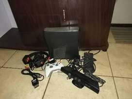 Xbox 360 s with controller and kinect camera with Triton headphones