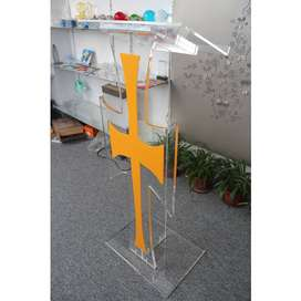 Yellow And Clear Cross Perspex Pulpit
