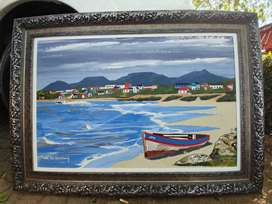 Framed oil canvas painting for sale