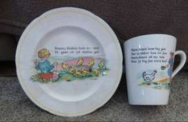 antique child plate with mug