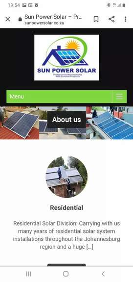 Sales & installation of solar products