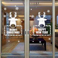 Наклейка на стекло. Олени . Новый Год, Рождество. Для детей