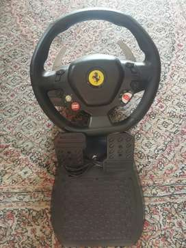 Gaming Ferarri steering wheel with pedals