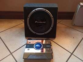 "PIONEER 10"" Subwoofer and amplifier"