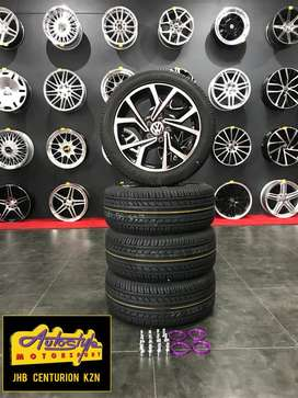 """15"""" mag & tyre combo suitable polo vivo, gti, vw 5 hole"""