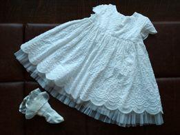 Sukienka do chrztu Marks&Spencer wiek 3-6m-cy + skarpetki + opaska