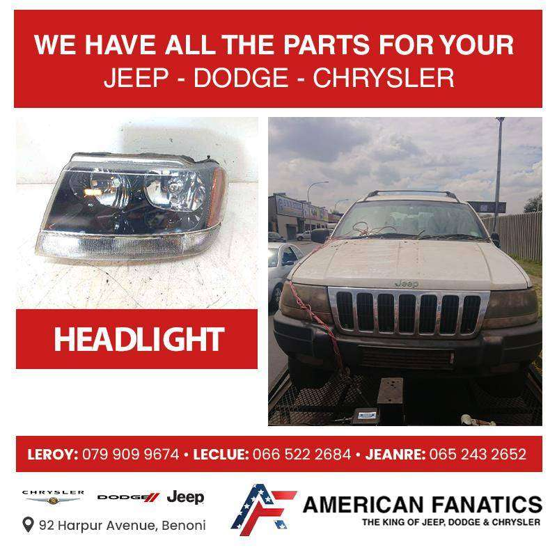Selling Jeep Cherokee WJ 2.7 CRD Headlight and other parts