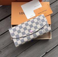 Portfel LV Louis Vuitton Damier Azur biała kratka różowy środek Emilie