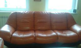 Komplet wypoczynkowy ze skóry-kanapa 3, kanapa 2, fotel.