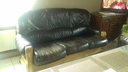 Sofa 3 trzy osobowa i fotel skóra skórzana dąb dębowa drewniana