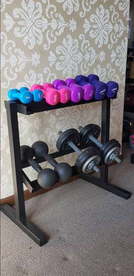 Dumbbell weight 2 tier rack