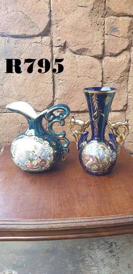 2 x H. Bequet  Belgium Vases (H 210mm and 255mm)