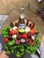 Мужской букет, букет из фруктов, овощей, конфет.