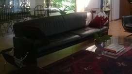 Black leather PACO couch