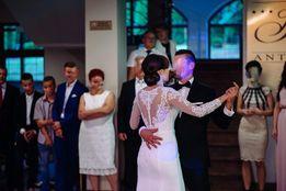 Suknia ślubna biała długi rękaw, koronka 36 - 38, efektowne plecy