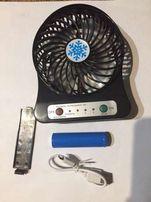 Вентилятор мини портативный настольный от USB или аккумулятор 18650