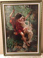 Картина бисером Влюбленные на качели