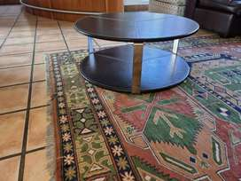 **Leather and Stainless Steel Coffee Table**