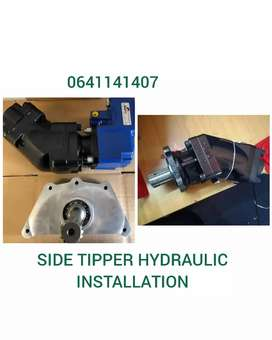 Side tipper hydraulic pto pump installation.