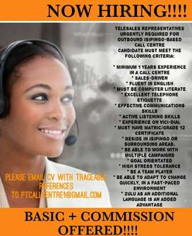 BASIC + COMMISSION OFFERED!!! TELESALES AGENTS REQUIRED