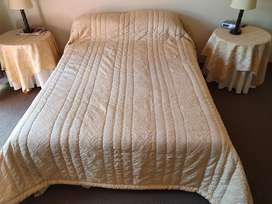 Cream and Gold coloured Double Bed Quilt