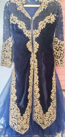 Exclusive  Imported Royal Blue And Gold Bridal Dress
