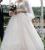 Свадебное платье Весільна сукня 3d-кружево (нежно розовое) А - силуэт