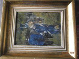 Obraz , ułan z koniem , sygn. Kos. , płótno , olej , w ramach , 53x44