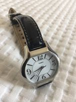 Zegarek damski Timex czarny skórzany pasek Stainless steel case
