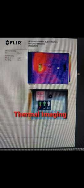 Thermal Imaging, shows hotspots, and warm water pipes in walls