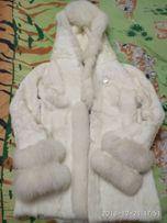 Шуба белая кролик + коза стриженая